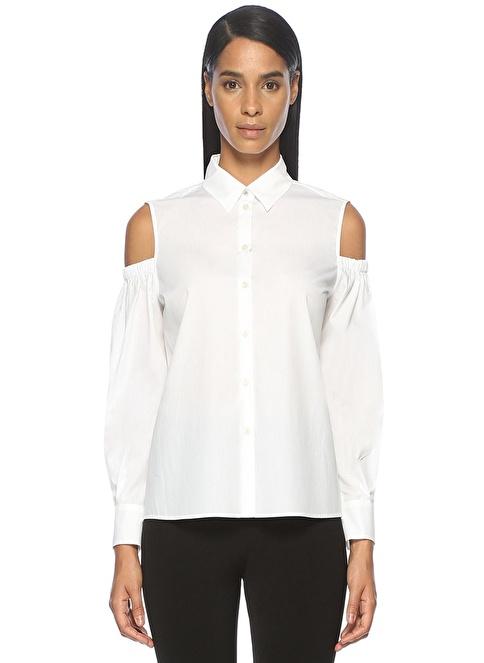 Academia Omuzu Açık Uzun Kollu Gömlek Beyaz